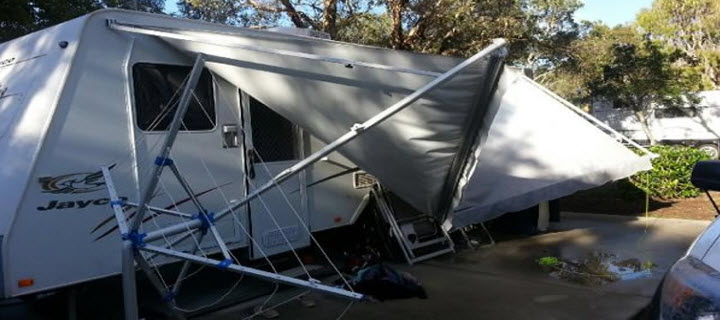 Caravan Awning Damaged in a Storm