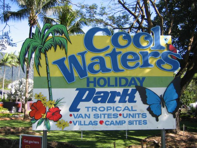 Cool Waters Holiday Park welcome sign
