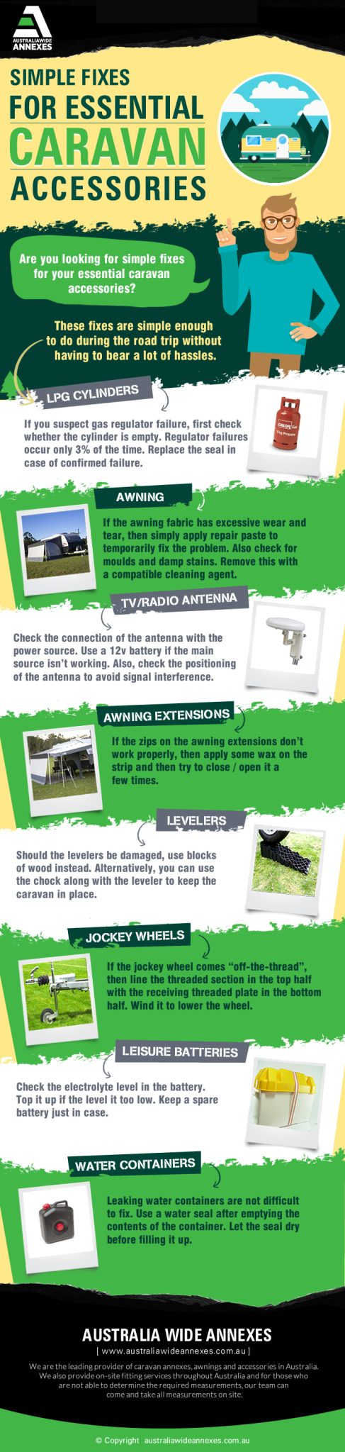 Simple Fixes for Essential Caravan Accessories - AWA Infographic