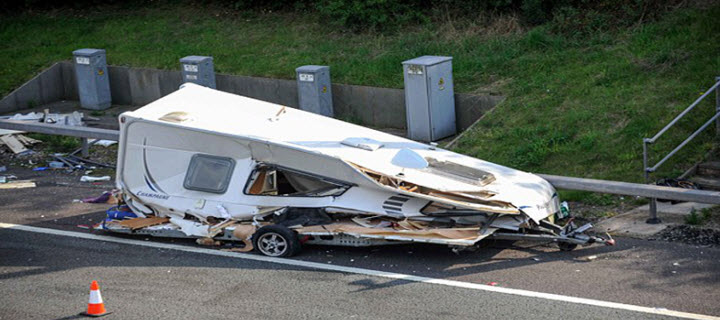 Caravan Damaged in a Road Accident